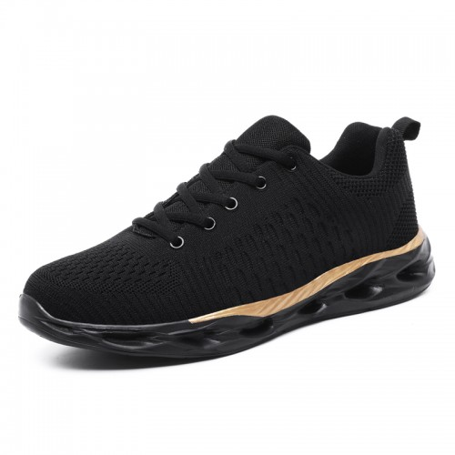 Black-Gold Elevator Men Fitness Shoes Add Height 2inch / 5cm Lightweight Mesh Fashion Sneakers