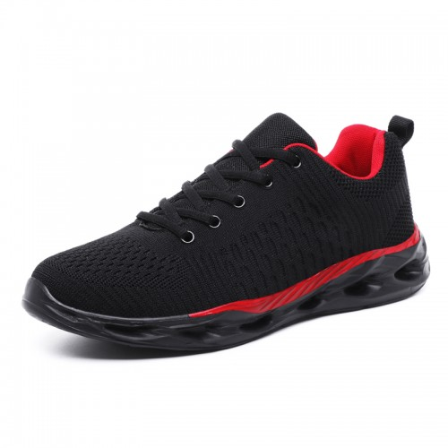 Black-Red Elevator Men Fitness Shoes Gain Taller 2inch / 5cm Lightweight Mesh Fashion Sneakers