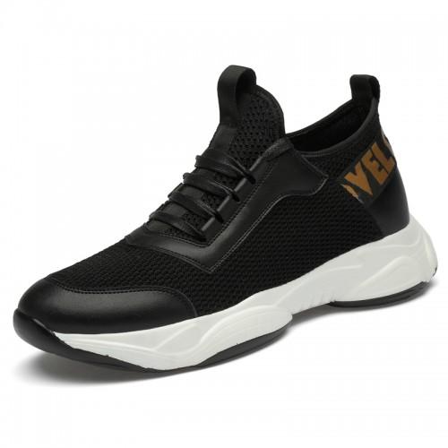 3inch Hidden Lift Men Lifestyle Sneakers for Men Add Height 7.5cm Black Mesh Lightweight Slip On Running Shoes