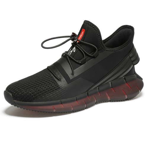 Height Increasing Workout Shoes Black Flyknit Lifting Sneakers Gain Taller 2.8 inch / 7 cm