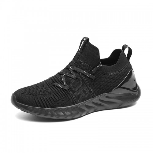 Shock Absorbing Elevator Flyknit Shoes Black Lightweight Running Shoes Add Height 2.2inch / 5.5cm
