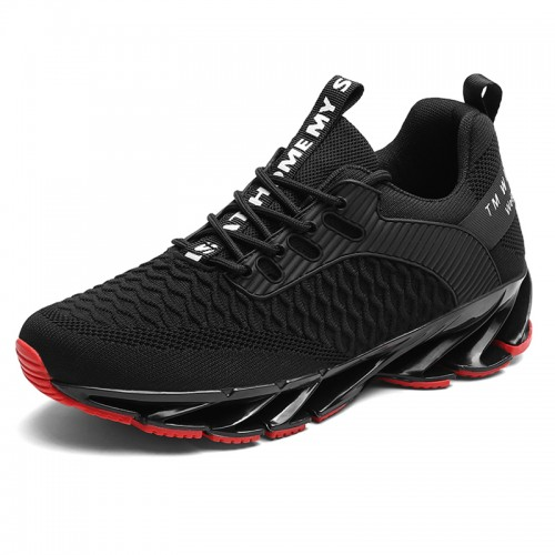 Elevator Blade Shoes for Men Add Taller 2.8inch / 7cm Black Lightweight Mesh Walking Fashion Sneakers