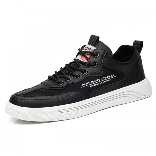 Black Hidden Lift Skate Shoes Lace Up Low Top Trainers Add To Height 2.2 inch / 5.5 cm