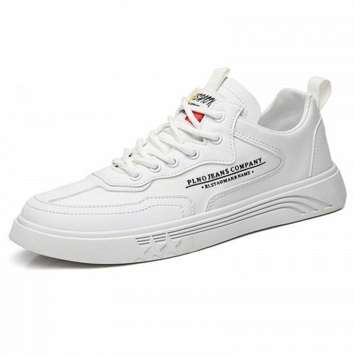 White Hidden Elevator Skate Shoes Lace Up Low Top Trainers Increase Height 2.2 inch / 5.5 cm