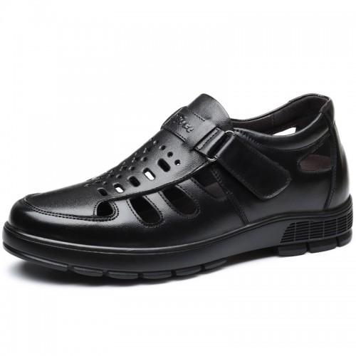 Black Elevator Fisherman Sandals Monk Strap Closed Toe Hidden Lift Beach Shoes Add Taller 3 inch / 7.5 cm