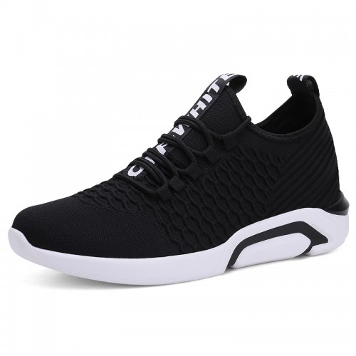 Black Breathable Men Taller Sneakers Korean Lightweight Flyknit Shoes Add Height 2.8inch / 7cm