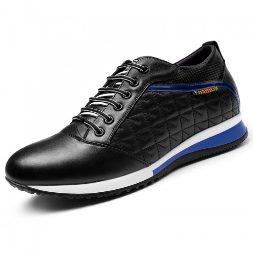 Men black calfskin height increase sneakers 8cm / 3.2inch extra high sports shoes