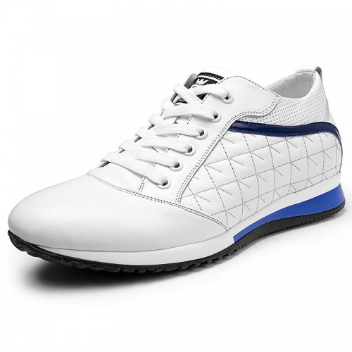 Men white calfskin taller sneakers 8cm / 3.2inch height increasing sports shoes