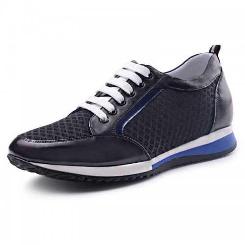 Breathable extra altitude sneakers 5.5cm / 2.17inch black lightweight taller walking shoes