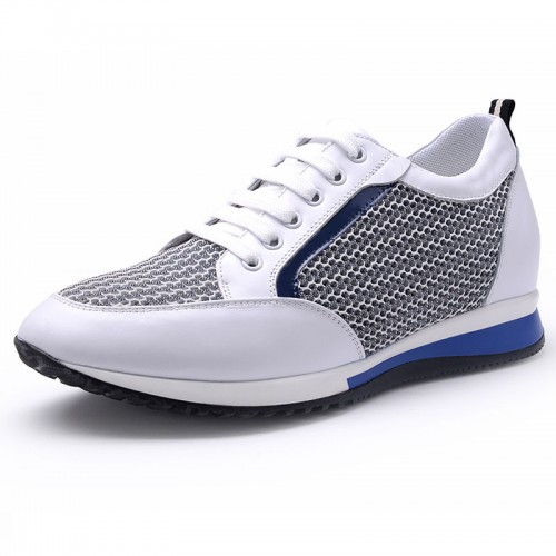 Breathable height tall sneakers 5.5cm / 2.17inch white lightweight elevator walking shoes