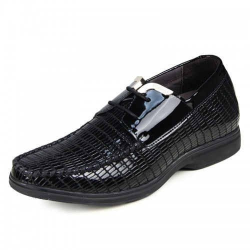 British Business Casual Lizardstripe Cowhide Shoes Increase Height 6.5cm / 2.56inches