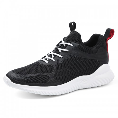 Black Elevator Walking Fitness Shoes for Men Taller 3.4inch / 8.5cm Lace Up Hidden Heel Flyknit Sneakers