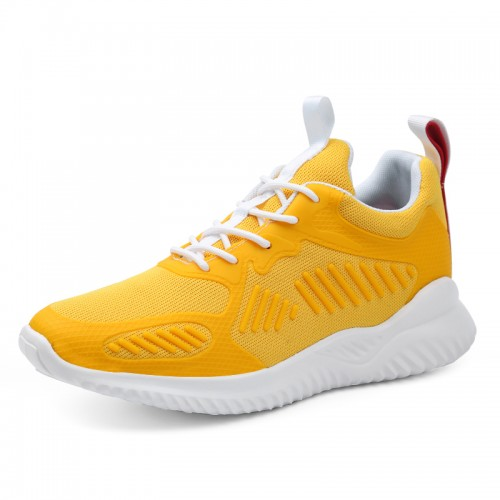 Yellow Men Elevated Walking Fitness Shoes Increase 3.4inch / 8.5cm Lace Up Hidden Heel Flyknit Sneakers