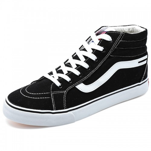 Elevator Plimsolls Shoes for Men Get Taller 2.8inch / 7cm Black-white High Top Height Sneakers