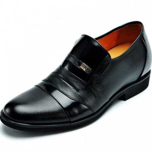 Genuine leather height elevator slip on shoe for men look tall increase 7cm / 2.75inches