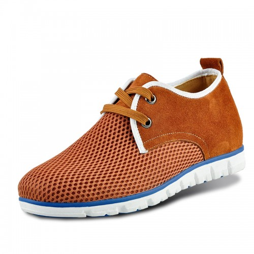 Brown mesh extra height sneakers make you tall 6cm / 2.36inches