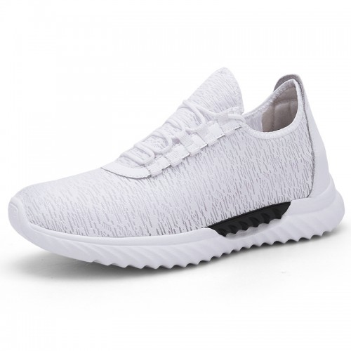 White Relaxed Slip On Elevated Trainers for Men Gain Tall 2.8inch / 7cm Lightweight Hidden Lift Shoes