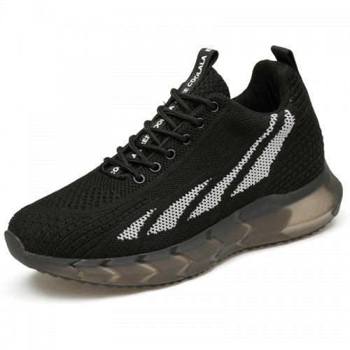 Urban Elevator Walking Running Shoes for Men Add Height 3 inch / 7.5 cm Black Knit Fashion Sneakers