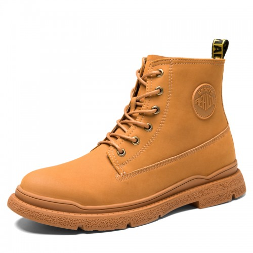 2021 Spring Hidden Height Chukka Boots Brown Trendy Martin Boots Gain Taller 3 Inch / 7.5 cm