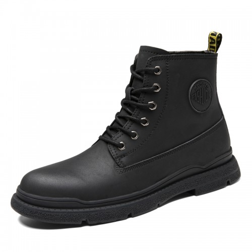 2021 Spring Hidden Taller Ankle Boots Black Trendy Martin Boots Add Height 3 Inch / 7.5 cm