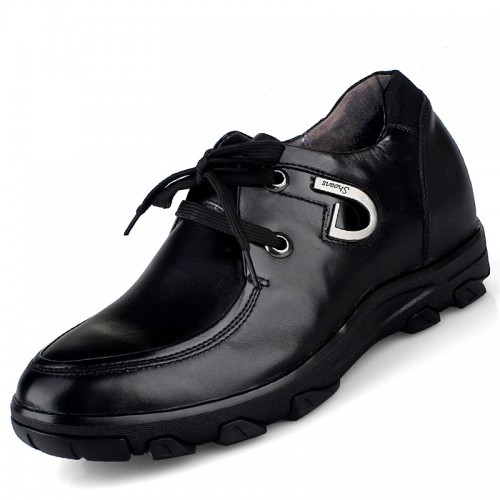 Black dermal business casual elevator shoes add height 8cm / 3.15inches UK style leisure shoes
