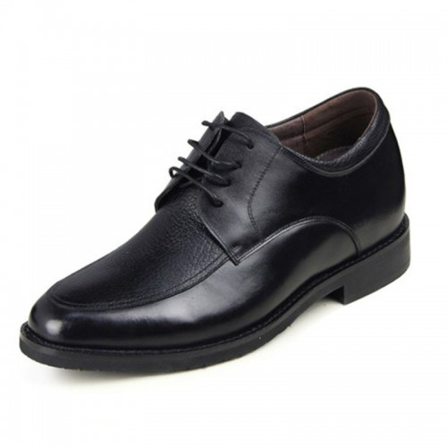 Black soft cowhide / lambskin elevator formal shoes increase taller 6.5cm / 2.56inches office shoes