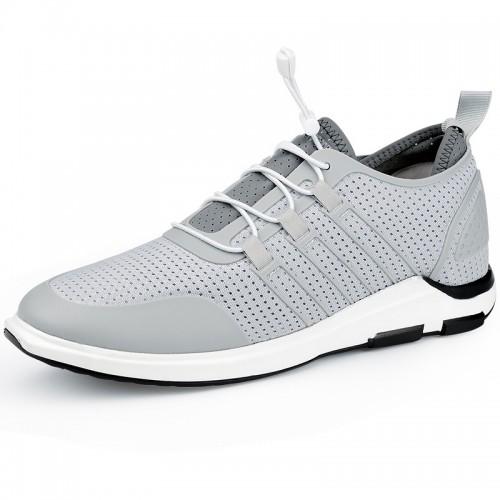 Trendy Elevated Mesh Shoes 2.4inch / 6cm Height Increasing Gray Men Sneakers