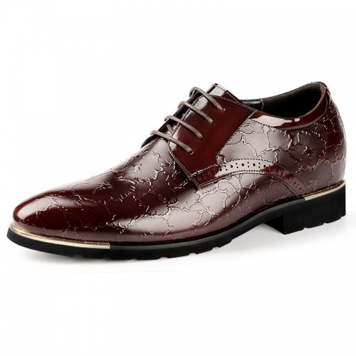 Exalted Elevator Dress Shoes Height 2.4inch / 6cm Brown Carve Patterns Pointy Formal Shoes