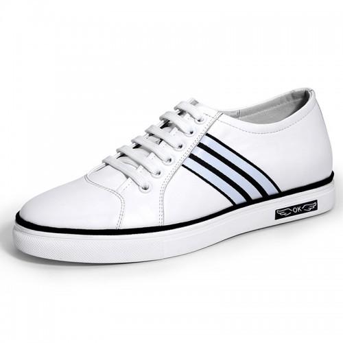 White Elevator Skateboarding Shoes for Men Taller 2.4inch / 6cm Calfskin Casual Shoes