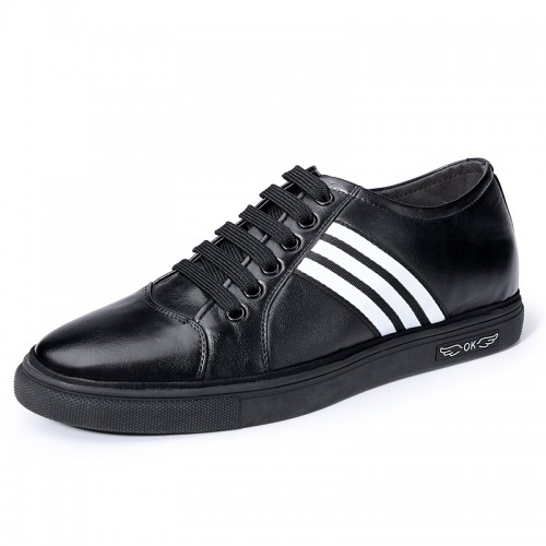 Black Elevator Men Skateboarding Shoes Increase 2.4inch / 6cm Calfskin Casual Shoes