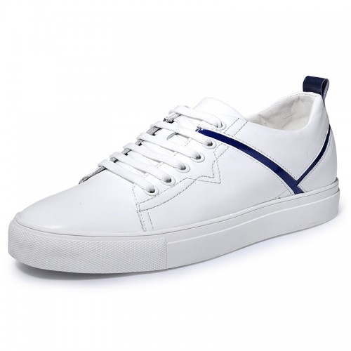 Unisex Elevator Skate Shoes Taller 2.4inch / 6cm White-Blue Genuine Leather Lift Casual Shoes