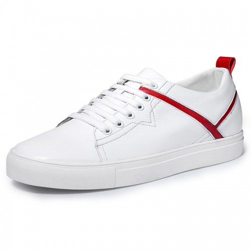 Unisex Elevator Skate Shoes Increase 2.4inch / 6cm White-Red Genuine Leather Lift Casual Shoes