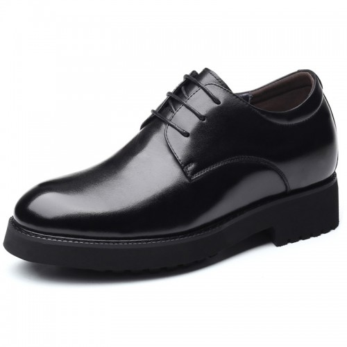 Black Lightweight Taller Formal Oxfords Soft Leather Plain Toe Elevator Shoes Increase Height 3.2inch / 8cm