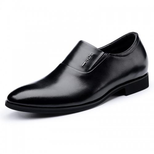 Black Elevator Business Loafers Slip On Tuxedo Shoes Taller 2.4inch / 6cm