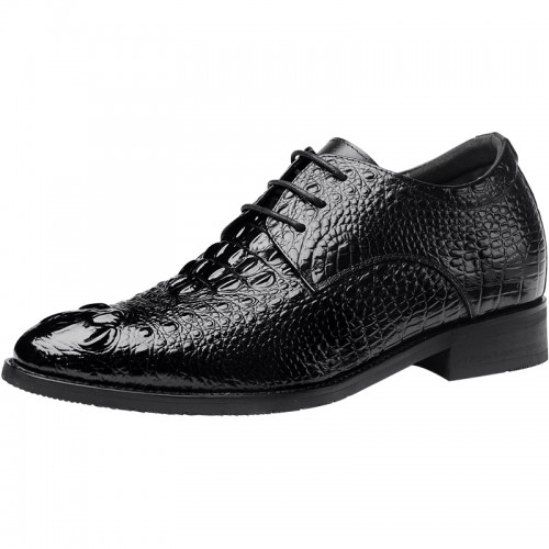 British Crocodile Height Increasing Tuxedo Shoes for men Black pointy toe formal oxfords