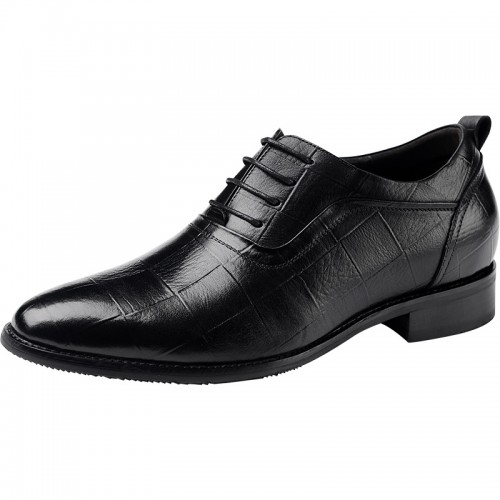 Pointed Toe Height Increasing Oxford Shoes for Men  Black Elevator Party Shoes
