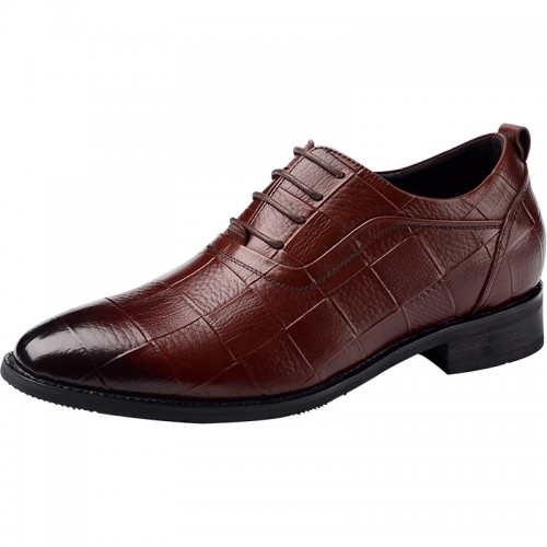 Brown Pointed Toe Height Increasing Oxford Shoes for Men Taller party shoes