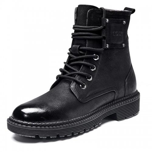 Retro Elevator Martin Boots Increase Height 2.6inch / 6.5cm Black Cowhide Chukka Boot