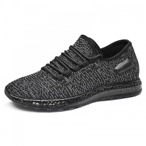 2019 Black Height Increasing Flyknit Trainers for Men Get Taller 2.4inch / 6cm All Match Elevator Walking Shoes