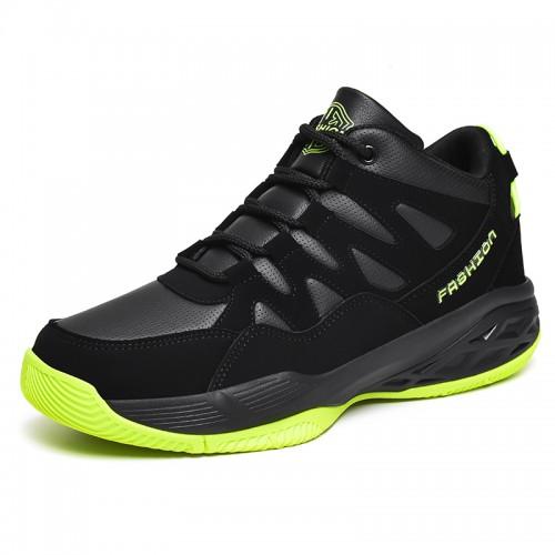 Black-Green Hidden Taller Basketball Shoes for Men Increase 2.8inch / 7cm High Top Non-Slip Running Shoes