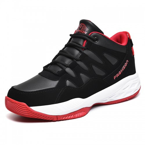 Black-Red Hidden Height Basketball Shoes for Men Add Taller 2.8inch / 7cm High Top Non-Slip Running Shoes