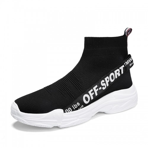 Black Height Increasing Socks Shoes for Men Tall 3.2inch / 8cm Lightweight Slip On Walking Shoes