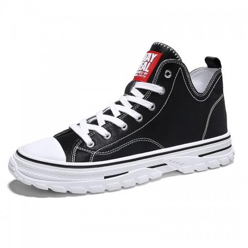 Black High Top Elevator Sneakers for Men Get Taller 2.8inch / 7cm Lightweight Hidden Heel Skate Shoes