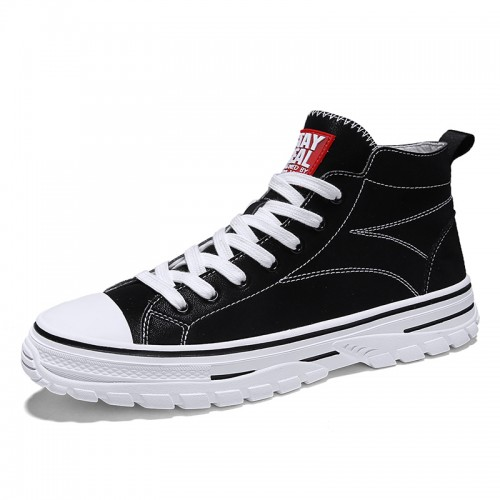 Black Height Plimsolls Shoes for Men Look Taller 2.8inch / 7cm Korean Trendy High Top Skate Shoes