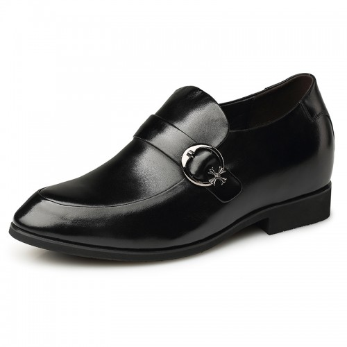 Black elevator monk strap wedding shoes 7cm / 2.75inch height dress shoes India