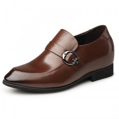 Brown height monk strap wedding shoes 7cm / 2.75inch taller dress shoes India