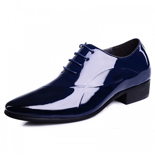 Shiny tuxedo wedding shoes increase height 6cm / 2.36inch blue pointy toe taller formal shoes