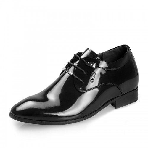 Height Increasing groom wedding shoes make taller 6.5cm / 2.56inches patent leather elevator dress shoe