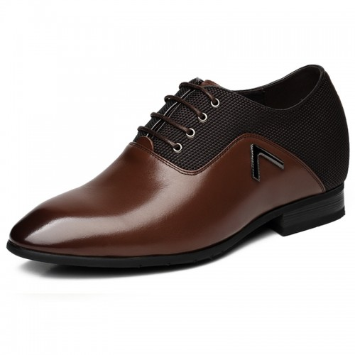 Fashion tuxedo shoes height increasing 7cm / 2.75inches brown elevated oxfords
