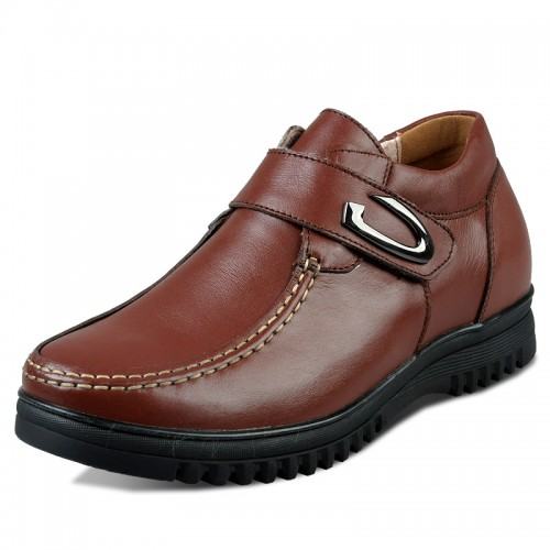Brown Korean Height Increasing business casual shoes get taller 6.5cm / 2.56inches elegant footsteps elevator shoes